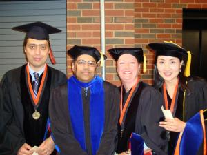 Really, no one looks good in mortarboard. But I was still happy to be getting my Ph.D.